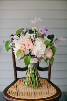 Lavender, pink, and green bouquet