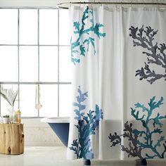 Shop coral reef shower curtain from west elm. Find a wide selection of furniture and decor options that will suit your tastes, including a variety of coral reef shower curtain. Coral Shower Curtains, Bathroom Shower Curtains, Ocean Bathroom, Condo Bathroom, Relaxing Bathroom, Mermaid Bathroom, Mermaid Room, Hall Bathroom, Bath