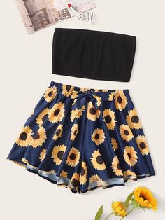 Aug 2019 - Rib Bandeau With Sunflower Shorts PJ Set Check out this Rib Bandeau With Sunflower Shorts PJ Set on Shein and explore more to meet your fashion needs! Cute Skirt Outfits, Really Cute Outfits, Crop Top Outfits, Cute Skirts, Cute Summer Outfits, Cute Casual Outfits, Simple Outfits, Pretty Outfits, Girls Fashion Clothes