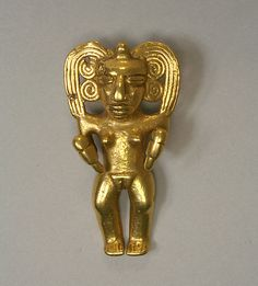 Figure Pendant  Date: 5th–10th century Geography: Colombia, Calima River Culture: Calima Medium: Gold (cast)