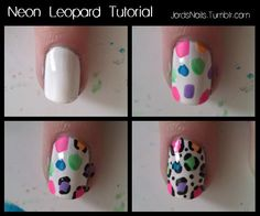 simple & easy tutorial for one of my favorite looks #NAILgasm  jordsnails:    Neon Leopard Tutorial  Steps:  Paint your nails white.  Using neon colors, paint dots onto your nails (they don't have to be the same size or perfect circles)  Once the dots are dry, use black polish or acrylic paint and a toothpick/dotting tool/striping brush, or a nail art pen to make lines around the edge of the dots.  Once dry, add top coat.  * I used acrylic paint for the black lines