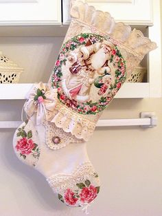Update 10/28/14 ~~~ SOLD ~~~ Victorian Santa Shabby Pink Rose Fabric Vtg Lace Cottage Chic Christmas Stocking - $40.00
