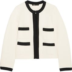 Maje Grosgrain-trimmed cotton-blend jacket (520 CAD) ❤ liked on Polyvore featuring outerwear, jackets, ecru, maje, maje jacket and white jacket