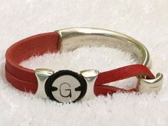 Red Leather Wrap Bracelet leather Whirly Wrap  UGA by MaryMercedes