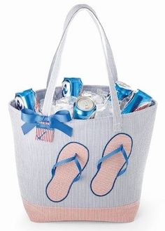 'Flip Flops' Insulated Party Bag by Mud Pie- Keepin' it Cool this Summer! - Chill in Sandy, Beach Going Style with the New Flip Flops Insulated Party Bag by Mud Pie. This Oversized Seersucker Tote. Summer Fun, Summer Time, Hand Painted Wine Glasses, House By The Sea, Mud Pie, Way Of Life, Travel Accessories, Flipping, Stocking Stuffers