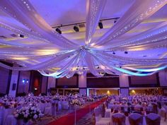 Get 12 Panel 28 Inch Hoop Ceiling Draping Hardware Kit with free installation tools kit. Includes hooks for hanging drapes. Sheer Curtain Panels, Sheer Drapes, Drapes Curtains, Drapery, Wedding Ceiling Decorations, Ceiling Draping Wedding, Aisle Decorations, Wedding Lighting, Event Lighting