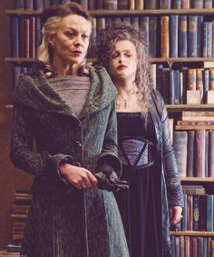 Sisters.  Narcissa Malfoy and Bellatrix Lestrange.  Harry Potter.  Look at the esquisite detail on the costumes.