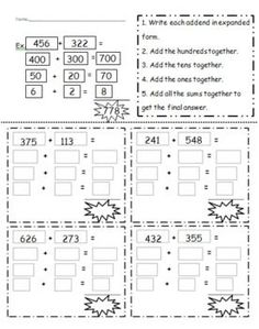 Digit Addition Using Expanded Notation | Expanded Notation ...