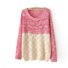 Contrast Color Hollow Out Sweater
