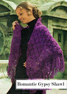 PDF Vintage Womens Ladies Gypsy Shawl Crochet Pattern 1970s Irish Crochet Patterns, Crochet Motif, Crochet Shawl, Crochet Lace, Crochet Bikini, Hippie Styles, Royal Purple Color, Hippie Look, Gypsy Rose