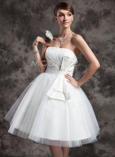 Courte robe de mariée civile en satin tulle pas cher