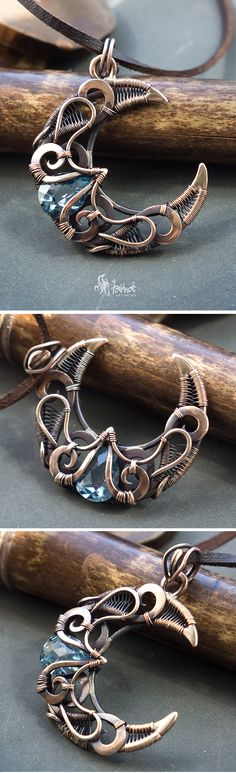 Big wire wrapped crescent moon necklace pendant // Bronze crescent moon with blue cz // Blue faceted cubic zirconia crescent moon necklace