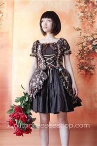 Dark Brown Printed Flowers Short Sleeve Lolita Dress