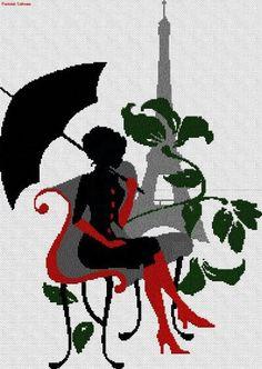 0 point de croix silhouette fille sur un banc a paris - cross stitch girl on a bench in paris