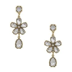 PearlPlus Women's Luxurious Shiny White Crystal Flower Drop Statement Stud Earrings Dangle