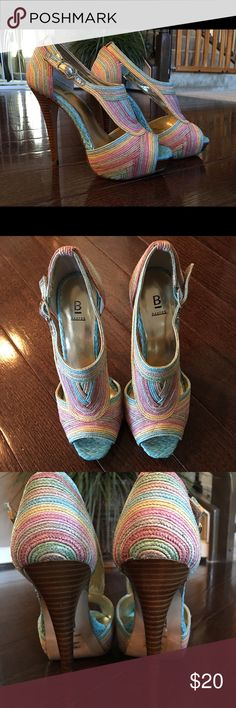 5inch Bakers Platform Gorgeous size 7 heels! Beautiful colors, woven stitched straw like fabric. Perfect for spring. Worn twice. They are more narrow fitting. Bakers Shoes Platforms
