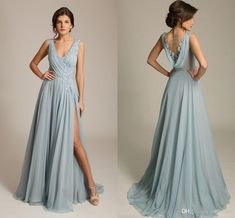 Bridesmade dresses - Gorgoues Dusty Blue Evening Dresses V Neck Sleeveless Appliques Chiffon Draped Back High Split Sexy Formal prom Gowns Sweep Train – Bridesmade dresses Bridesmaids Gowns With Sleeves, Classy Bridesmaid Dresses, Bridesmade Dresses, Burgundy Bridesmaid, Wedding Dresses, Wedding Flowers, Plus Size Prom Dresses, Black Prom Dresses, Formal Dresses