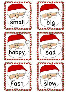 Freebie picture antonym cards slp synonymantonym freebies s antonyms christmas themed antonyms matching literacy station with recording sheet m4hsunfo