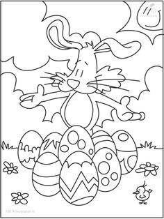 De Paashaas verzamelt mooie eieren. Kleur maar in. Zoek jij zo ook eitjes?