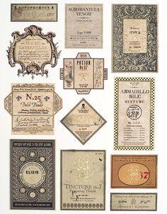 Decorations: potions labels