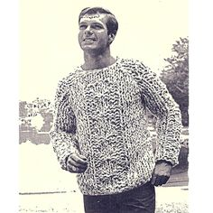 Mens Big Needle Tweed Sweater Knitting Pattern.  This sweater will be knit for him quickly using Jumbo Jet Needles - a size 50.  The sweater has a patterned front panel, round neckline, long sleeves and is waist length.