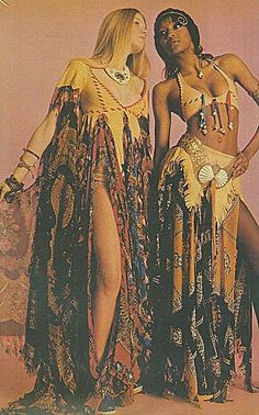 My older sister had an outfit very much like the one on the right. Hippie high fashion, 1960s.