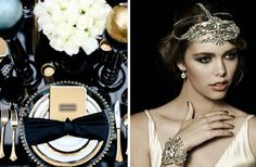 Great Gatsby Wedding - Vintage Glamour - love the glossy black... I wont wear a headband tho