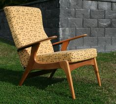 Retro Danish Parker Fler Chair Armchair Kauri Pine & Eames Yellow Dot Fabric.