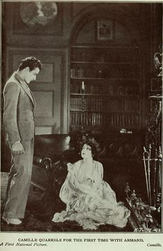 Lobby card for the 1927 silent film Camille starring Norma Talmadge and Gilbert Roland. The film is lost. Old Hollywood Glamour, Golden Age Of Hollywood, Vintage Hollywood, Norma Talmadge, Gilbert Roland, Female Movie Stars, Silent Film, 1920s, Films