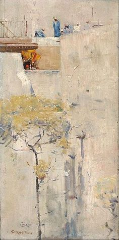 Canvas Art Prints Stretched Framed Giclee World Famous Artist Oil Painting Arthur Streeton House Builders Cairo