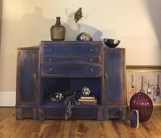 Art Deco buffet restyled by Girl in Blue Designs with CeCe Caldwell's Chalk + Clay Paint in Windsor Blue.