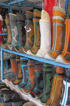 """Traditional Mongolian boots on offer at Naran Tuul market (also known as the """"Black Market"""" although there is nothing illegal), Ulaan Bataar"""
