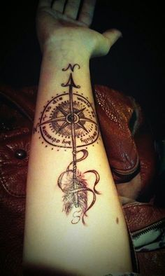 Compass Tattoo- make the tail longer and flowy to contour to body. Take away or change the circle. Bright colors. Maybe colored birds flying out from color stripes?