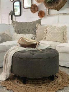 This listing is for a single upholstered ottoman artisan made in High Point NC by hand. This piece can be used as either a footstool or as a coffee table with an ottoman tray. Coffee table ottomans are inventoried and SHIPS QUICKLY within 1-3 business days of ordering via FedEx or UPS. Dimensions: Tufted Ottoman Coffee Table, Grey Ottoman, Ottoman Decor, Ottoman In Living Room, Ottoman Tray, Living Rooms, Round Leather Ottoman, Round Ottoman, Leather Granite
