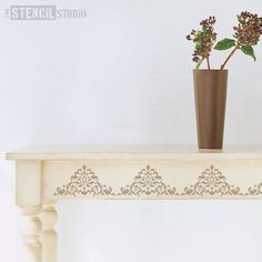 Acanthus Border Stencil from The Stencil Studio. Reusable stencils for home decor and DIY, easy to use. 10472