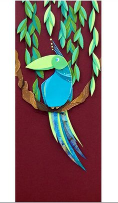 Blue and Green Jungle Cruise Tropical Bird Cut Paper Illustration Fine Art Print - Real Time - Diet, Exercise, Fitness, Finance You for Healthy articles ideas Bird Tattoo Back, Black Bird Tattoo, Bird Tattoo Wrist, Bird Of Paradise Tattoo, Cut Paper Illustration, Birdhouse Craft, Black And White Birds, Love Birds Wedding, Sea Crafts