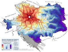 Austro-Hungarian railway network 1912, by S. Steinbach #map #austria #hungary #transit #rail