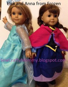 Elsa and Anna from Frozen for American Girl Doll