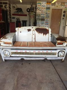 Car Part Furniture, Automotive Furniture, Automotive Decor, Man Cave Garage, Cave Bar, Car Part Art, Car Parts Decor, Tailgate Bench, Cool Garages