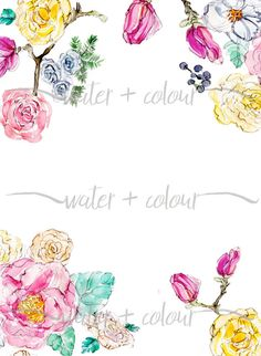 Downloadable watercolor floral border   Watercolors ...