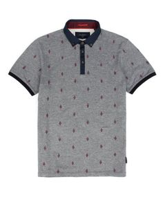 Embroidered polo - Navy | Tops & T-shirts | Ted Baker UK
