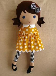 Fabric Doll Rag Doll Girl: