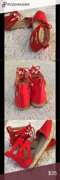 Submit ANY Offer! Orange Espadrille Sandles Great Condition! Worn once! Merona Shoes