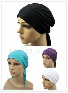 Luxury Tie Back Bone Bonnet Cap Bandana Under Scarf Hijab Lycra satin front