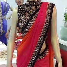Contemporary mock neck mirror blouse with gradient saree