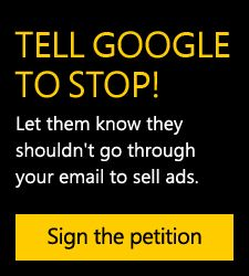 Google searches your e-mail to target ads to you!  And you can't opt out.  I'm no fan of Microsoft, but this is a horrible thing for Google to do, especially without telling you!