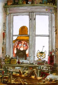 Spying on the Woodworker / Petterson & Findus Bric À Brac, Trolls, Nordic Art, Humor Grafico, Amazing Drawings, Children's Book Illustration, Cat Art, Book Art, Fairy Tales
