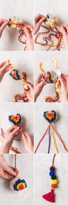 you are able to tie it to the end of the piece Red Pom Poms, Pom Pom Wreath, Pom Pom Rug, Pom Pom Crafts, Yarn Crafts, Kid Crafts, Craft Projects, Pom Pom Tutorial, Pom Pom Animals