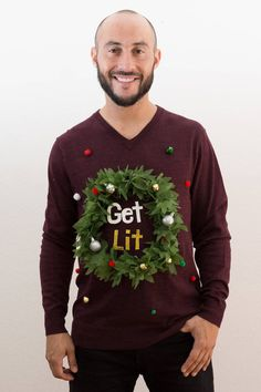 Ugly Christmas Sweater Mens / Mens Get Lit Sweater with LED Light Up Weed Wreath / Ugly Christmas sweater party by StaticThreads1 on Etsy