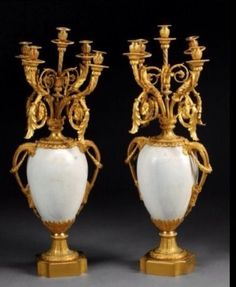 A MONUMENTAL PAIR OF ORMOLU AND MARBLE CANDELABRA : Lot 172B
